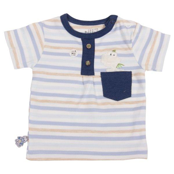 تیشرت آستین کوتاه نوزادی نیلی طرح دراگون