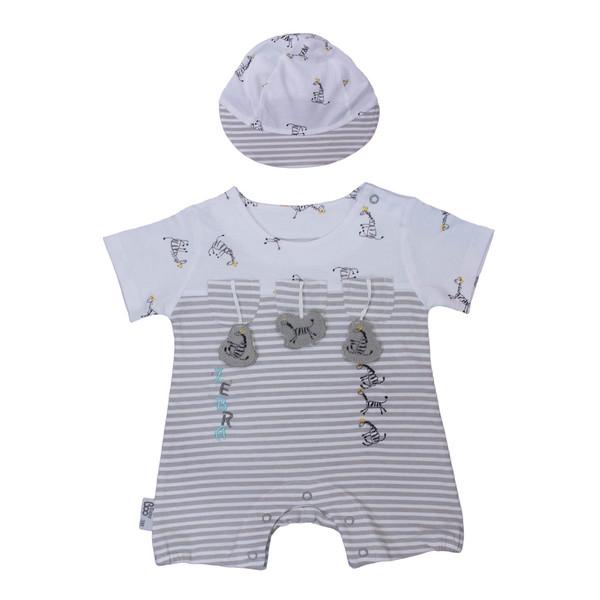 ست سرهمی و کلاه نوزادی پسرانه بیبی بو مدل cutezebra