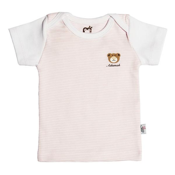 تی شرت آستین کوتاه نوزادی آدمک طرح راه راه کد 01 رنگ صورتی