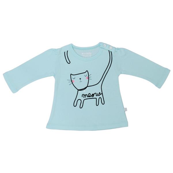 تی شرت آستین بلند نوزادی دخترانه بیبی بو مدل Gmeow