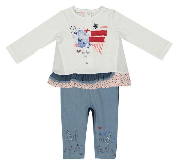 ست تی شرت و شلوار نوزادی دخترانه پریناتال کد 01