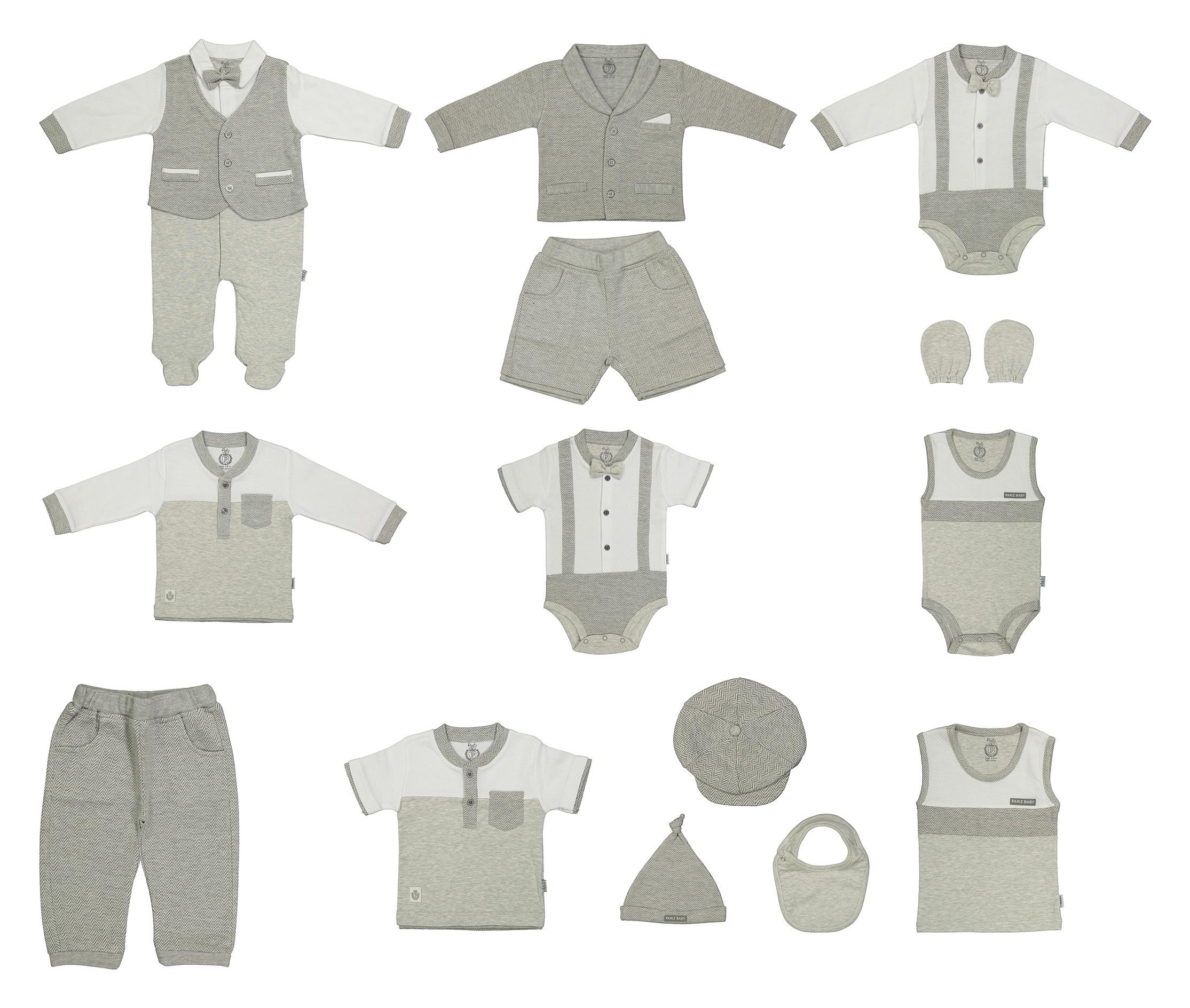 ست 14 تکه لباس نوزادی پاریز طرح ژاکارد