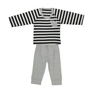 ست تی شرت و شلوار نوزادی پسرانه بی بی گیفت طرح راه راه کد 15