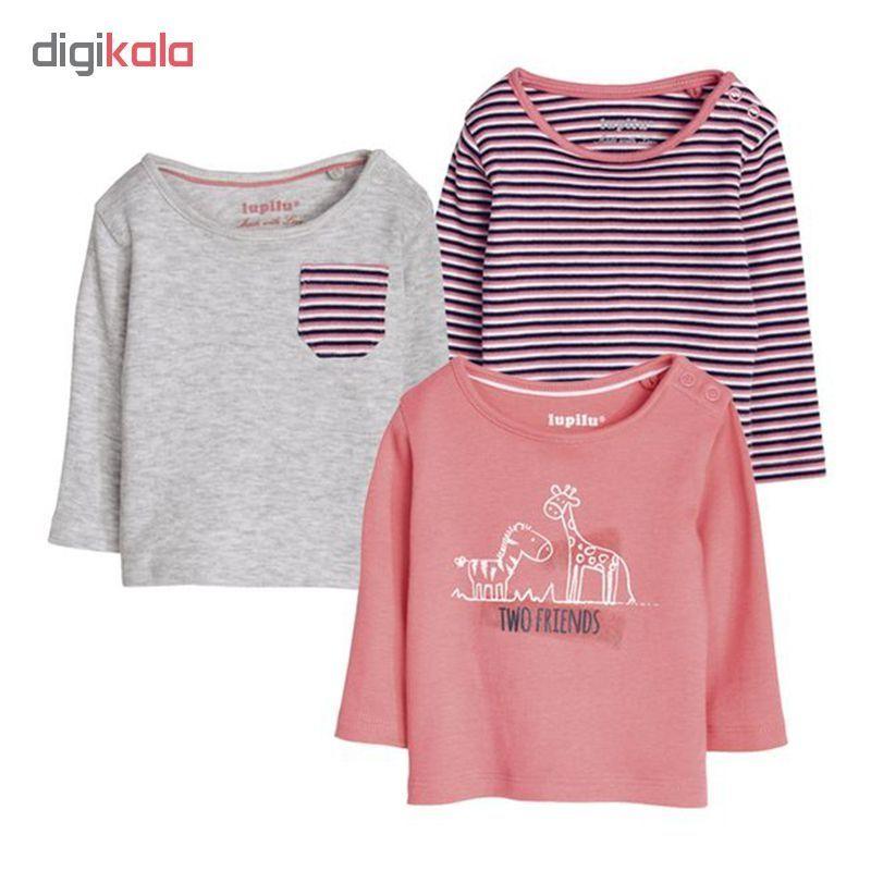 تی شرت آستین بلند نوزادی لوپیلو کد LP133 مجموعه 3 عددی main 1 1