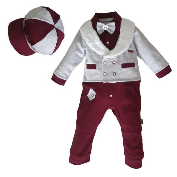 ست سرهمی و کلاه نوزادی پسرانه کد ۱۱۳۹ رنگ زرشکی