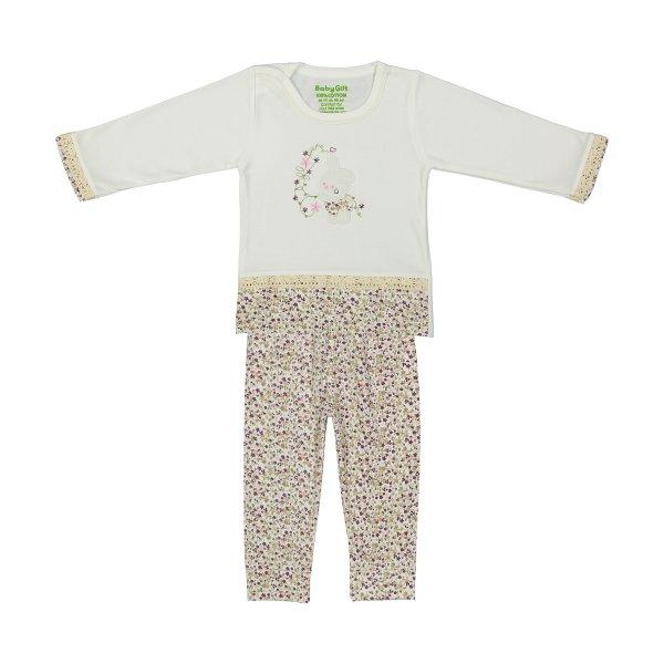 ست تی شرت و شلوار نوزادی دخترانه بی بی گیفت طرح خرگوش کد 12