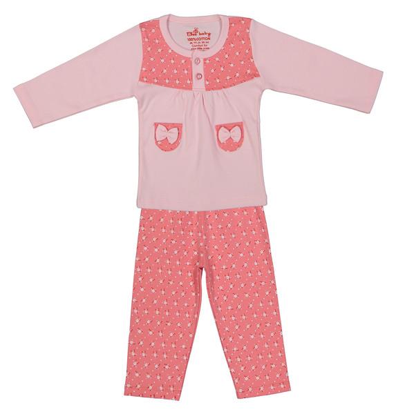 ست تی شرت و شلوار نوزادی دخترانه بی بی گیفت طرح شکوفه کد 11