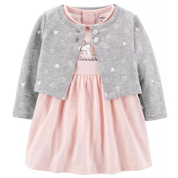 ست کت و پیراهن نوزادی دخترانه کارترز کد 1064