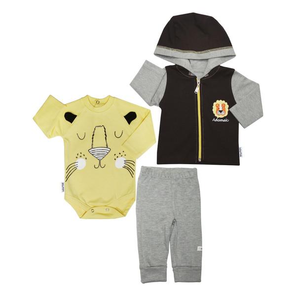 ست 3 تکه لباس نوزاد آدمک طرح شیر کوچولو رنگ لیمویی