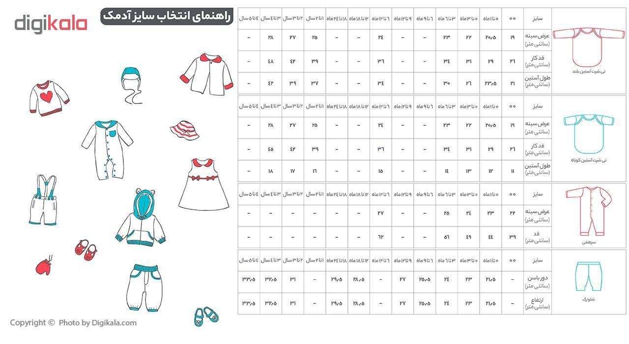 تی شرت آستین بلند نوزاد آدمک طرح راه راه کد 02-144401