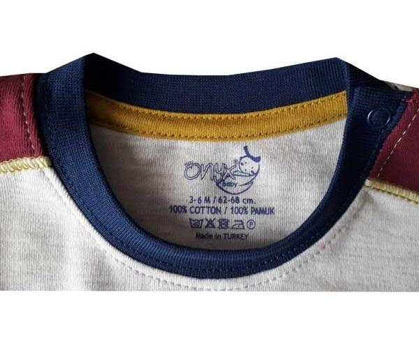 تیشرت آستین بلند نوزاد اونیکس طرح بیسبال کد 06