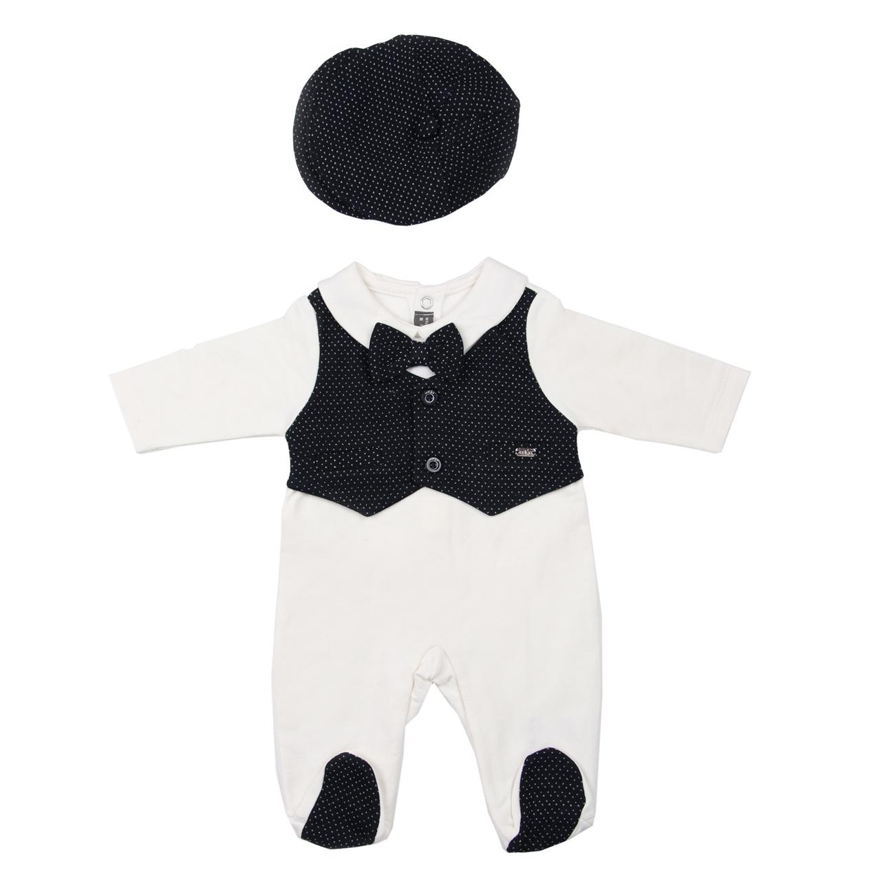 ست سرهمی و کلاه نوزاد ایندیگو کد 29743