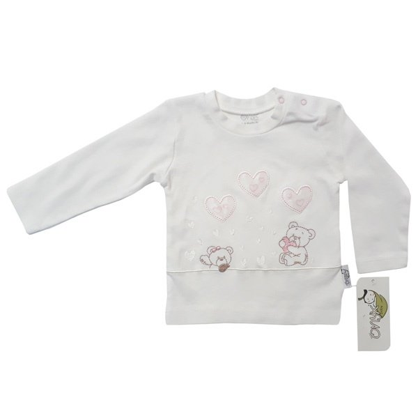 تی شرت نوزادی دخترانه اونیکس طرح قلب و خرس کد 06