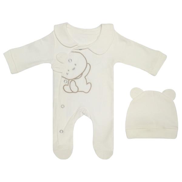 ست سرهمی و کلاه نوزادی مدل I'm Happy Bear کد M111