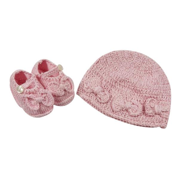 ست کلاه و پاپوش بافتنی نوزاد مدل پاپیون