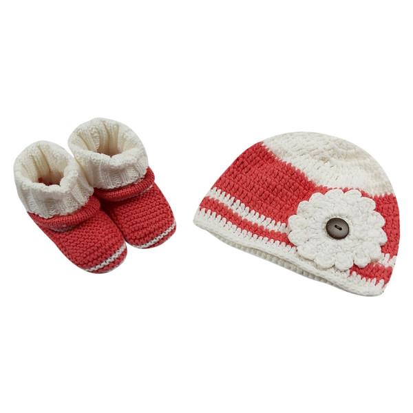 ست کلاه و پاپوش بافتنی نوزاد مدل 1-6725