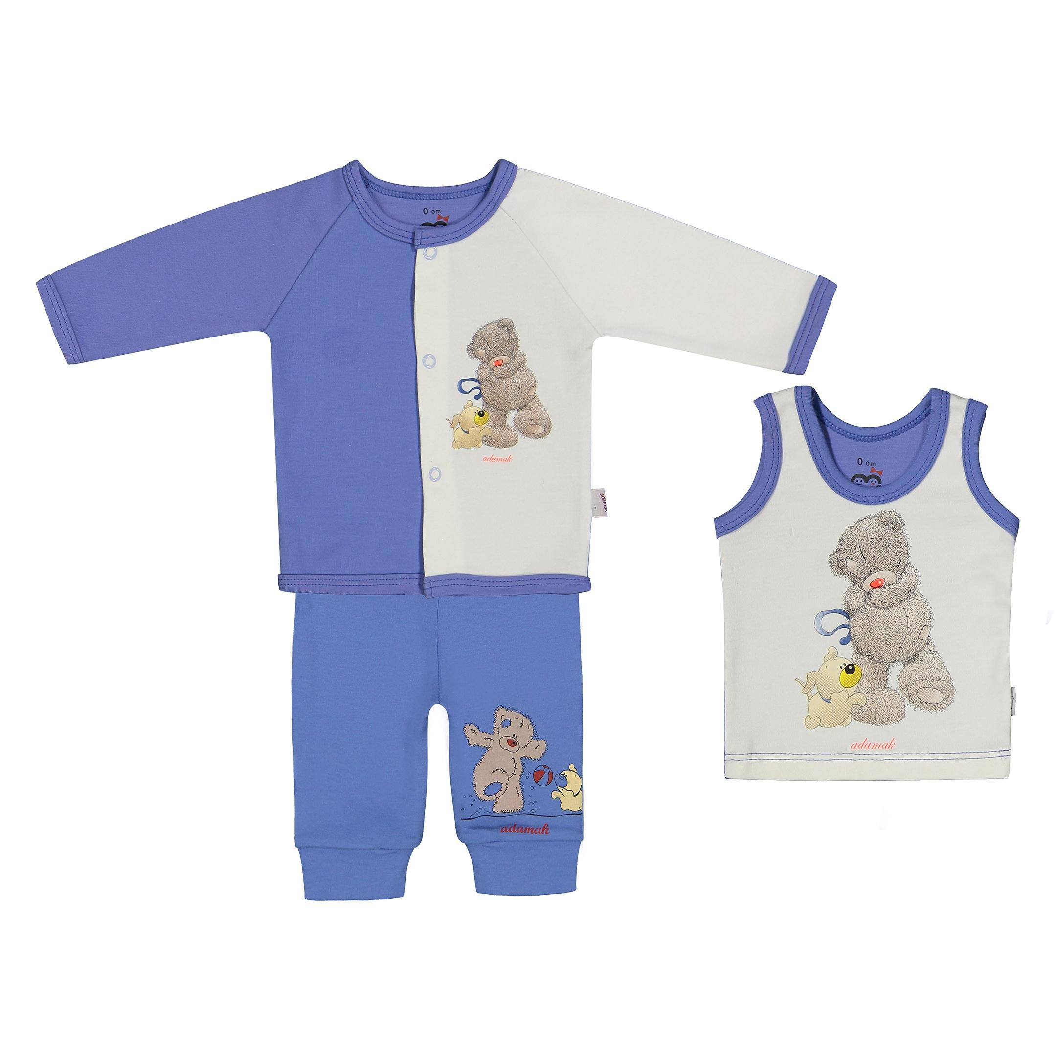 ست 3 تکه نوزادی پسرانه آدمک مدل 2171106-50