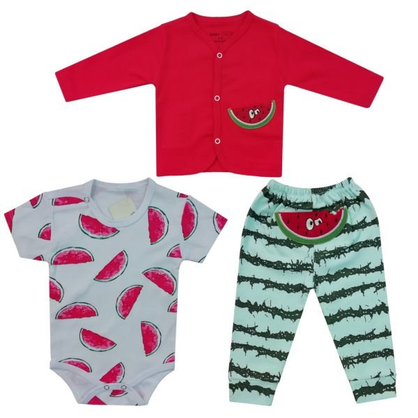 ست سه تکه لباس نوزاد طرح هندوانه کد t77285493  .gg