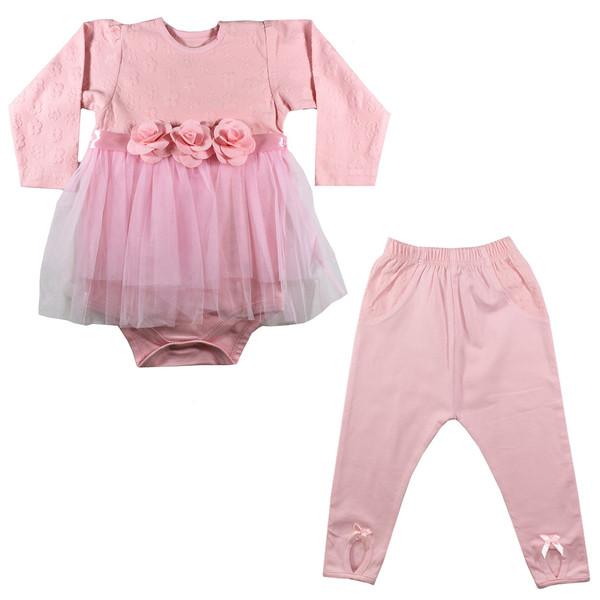 ست پیراهن و شلوار نوزادی دخترانه نیروان کد Q-2
