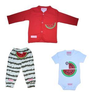 ست 3 تکه لباس نوزاد طرح هندوانه مدل یلدا کد t77285493 g