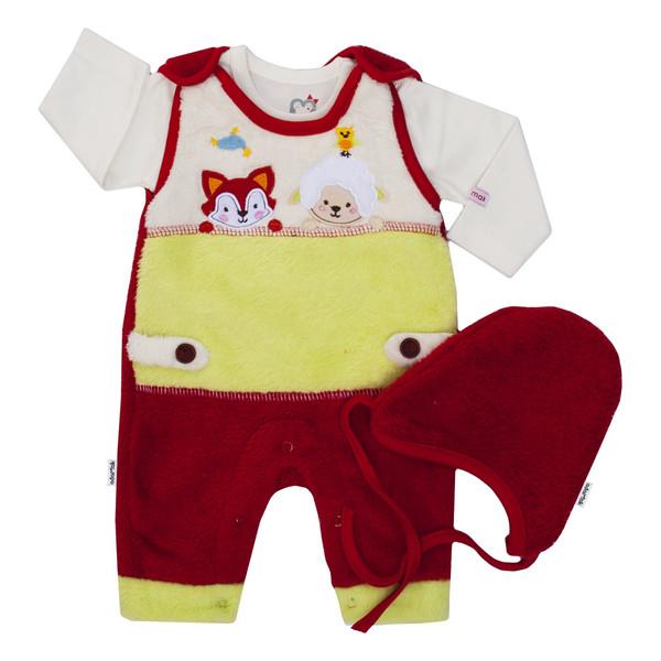 ست 3 تکه لباس نوزادی آدمک طرح بره رنگ قرمز