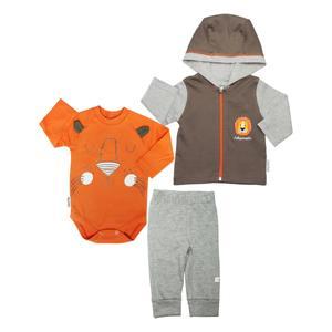 ست 3 تکه لباس نوزاد آدمک طرح شیر کوچولو رنگ نارنجی
