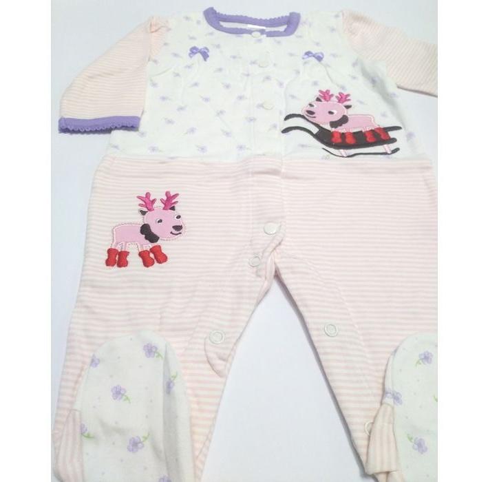 سرهمی نوزادی دخترانه طرح گوزن سورتمه سوار کد M114