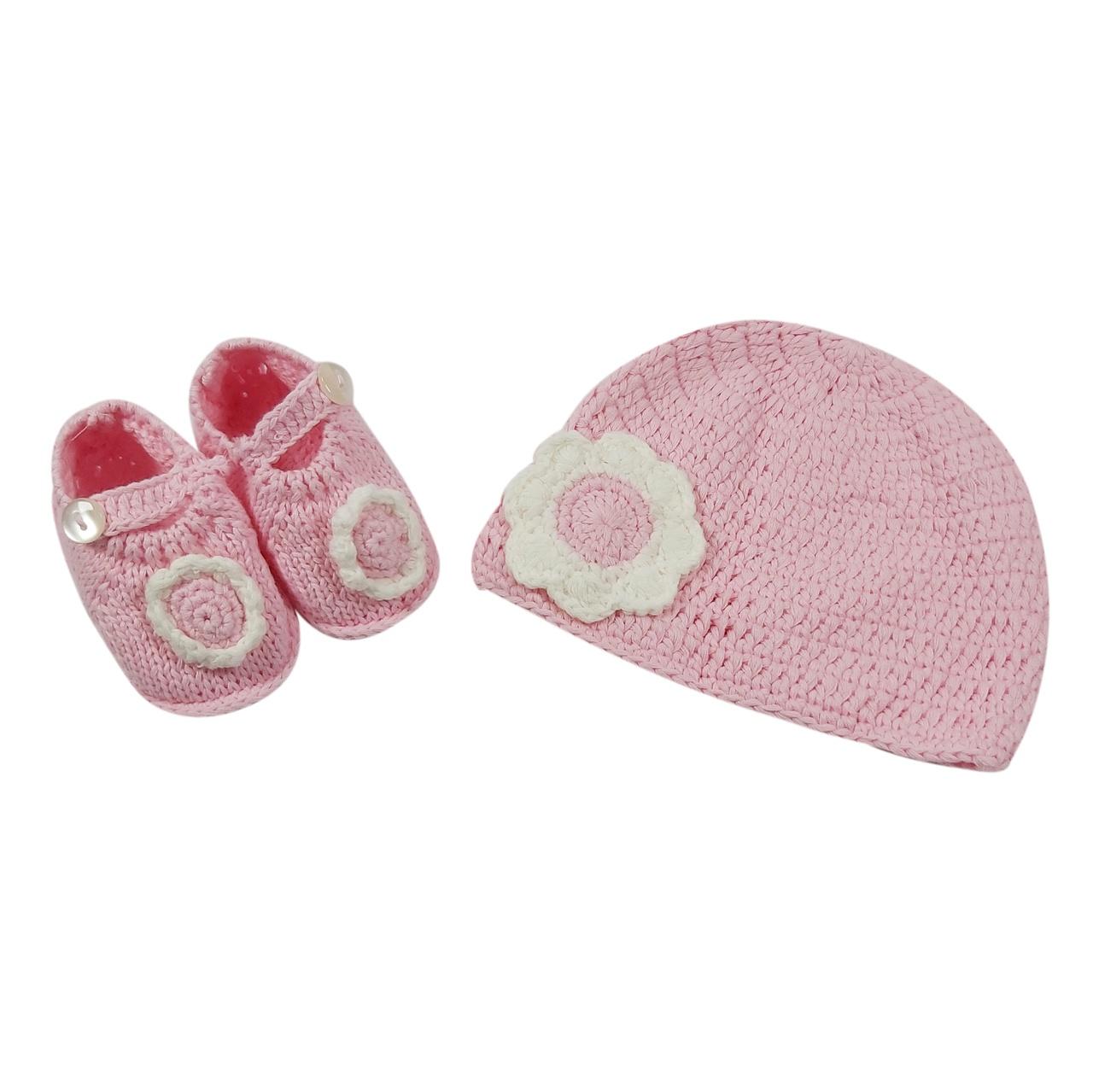 ست کلاه و پاپوش بافتنی نوزاد مدل 2-6725