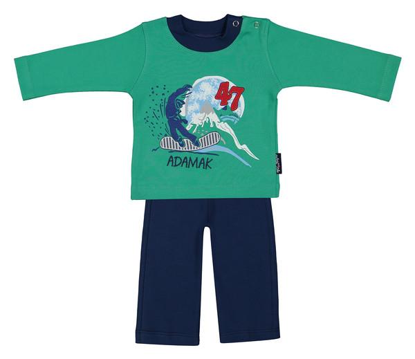 ست تی شرت و شلوار نوزادی پسرانه آدمک مدل 2171100-46