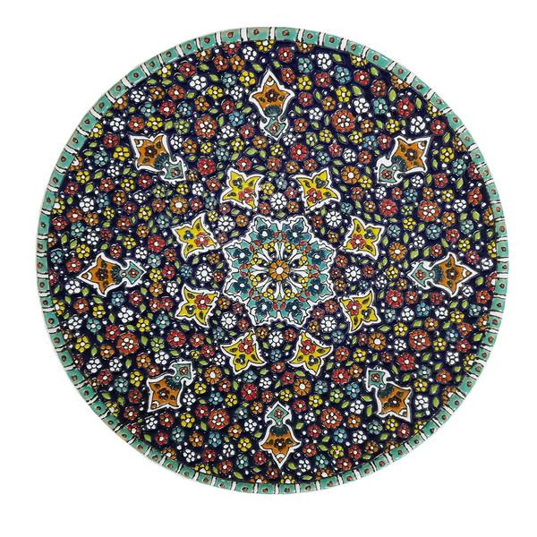 بشقاب سفالی صده 21 طرح میناکاری کد 1116 قطر 30 سانتی متر