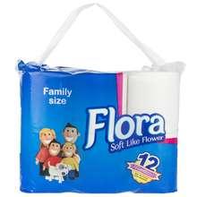 دستمال توالت فلورا مدل Family Size بسته 12 عددی