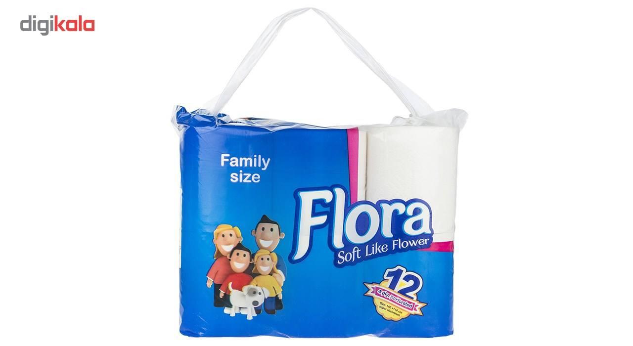 دستمال توالت فلورا مدل Family Size بسته 12 عددی main 1 1