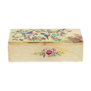 جعبه جواهرات سنگی طرح گل و مرغ مدل MR29