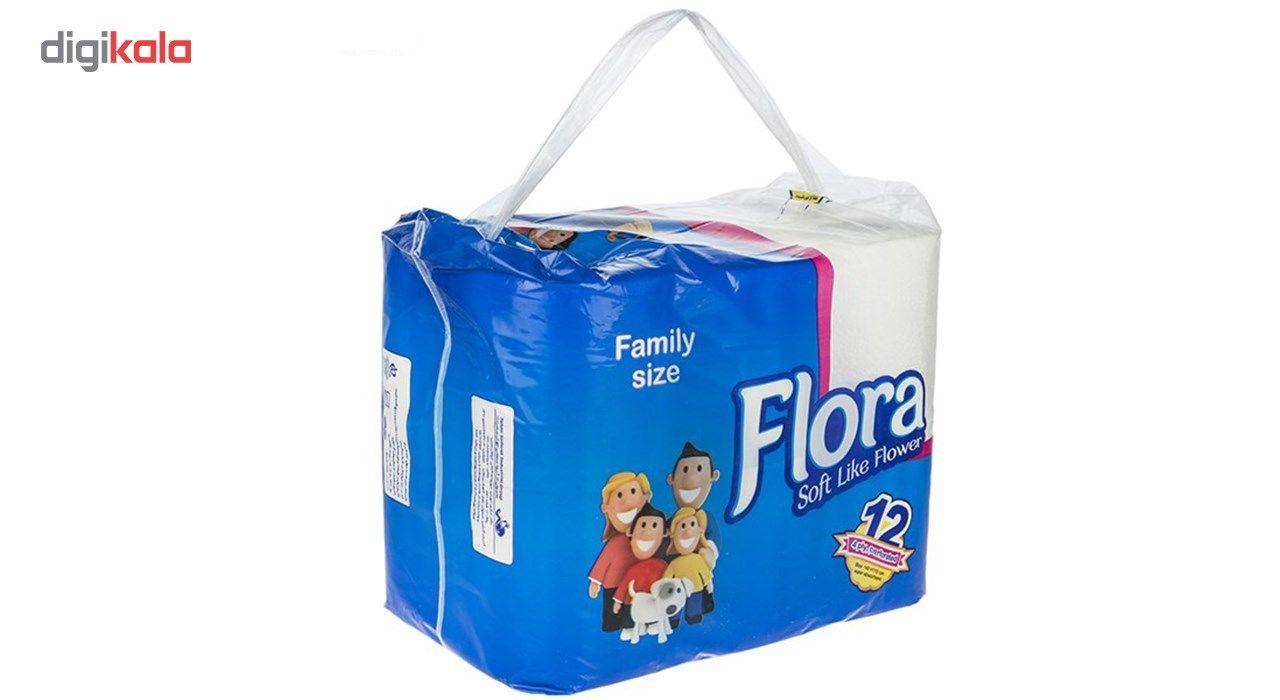 دستمال توالت فلورا مدل Family Size بسته 12 عددی main 1 2