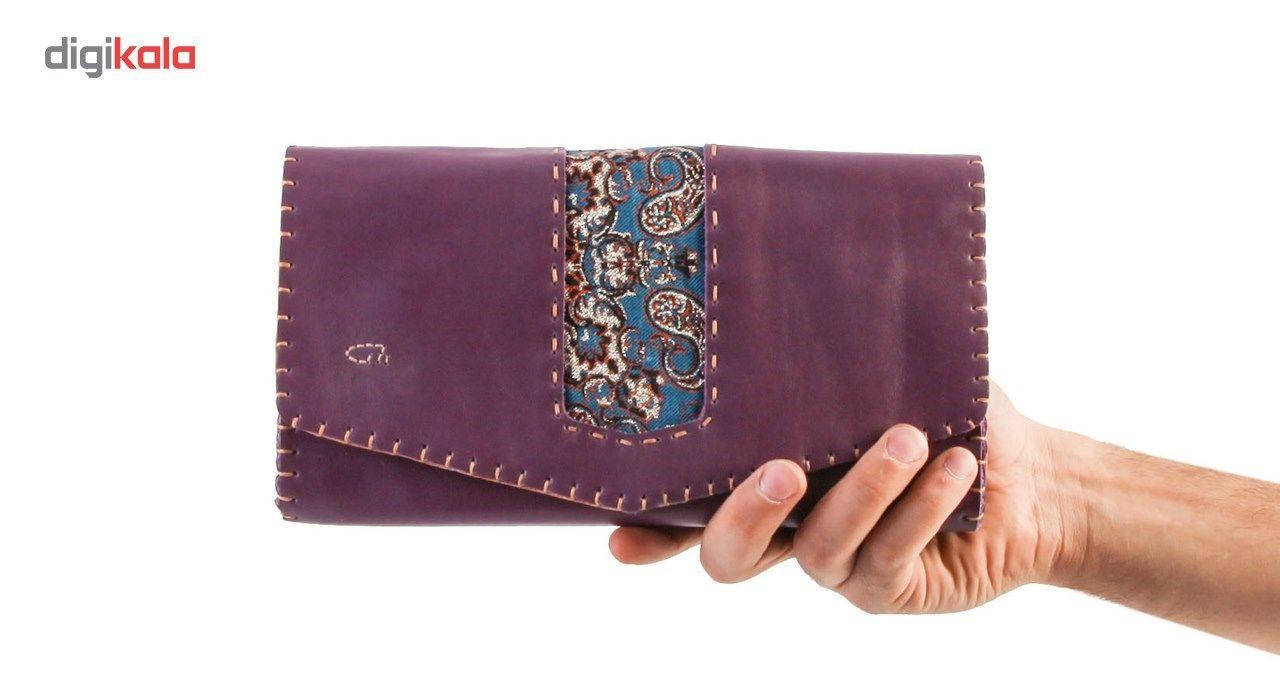 کیف دستی چرم طبیعی گالری راد طرح ماهور -  - 4