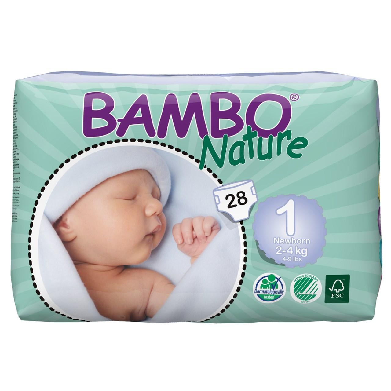 پوشک بامبو مدل Newborn سایز 1 بسته 28 عددی