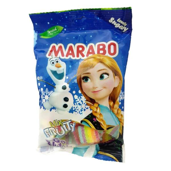 پاستیل لقمه ای شکری میوه ای مخلوط مارابو مقدار 50 گرم