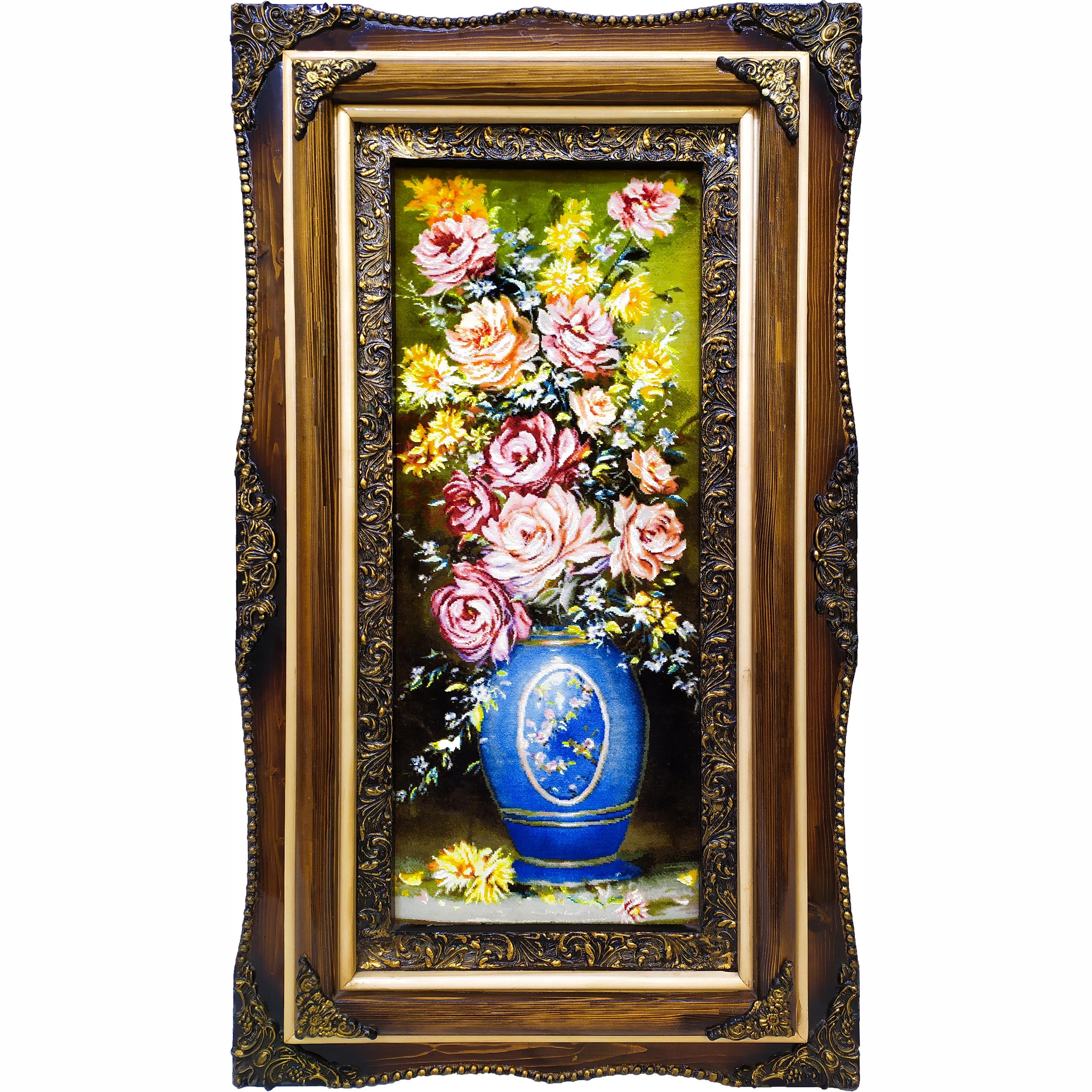 تابلو فرش دستبافت طرح گل و گلدان کد 101692