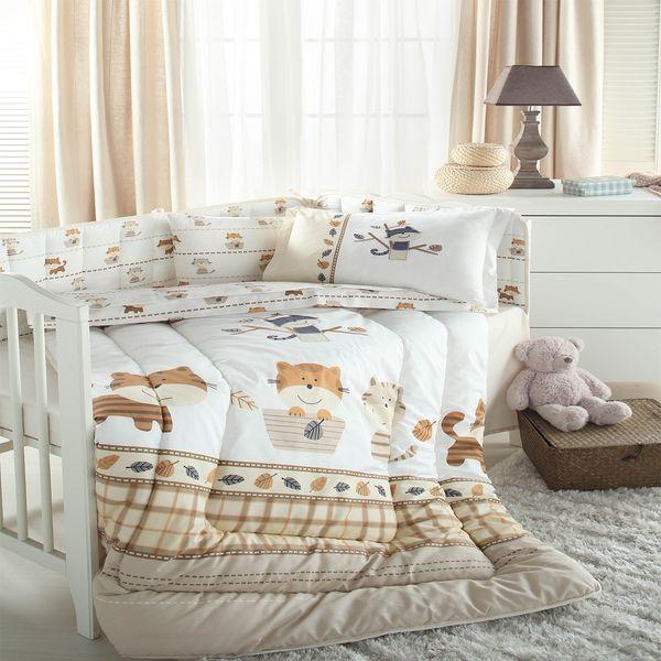 سرویس لحاف 8 تکه خواب نوزاد ازدیلک سری رنفورس گلدوزی و تکه دوزی طرح Cat