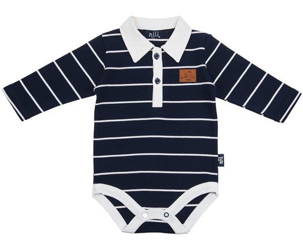 زیر دکمه دار آستین بلند نیلی مدل Navy Blue Stripes