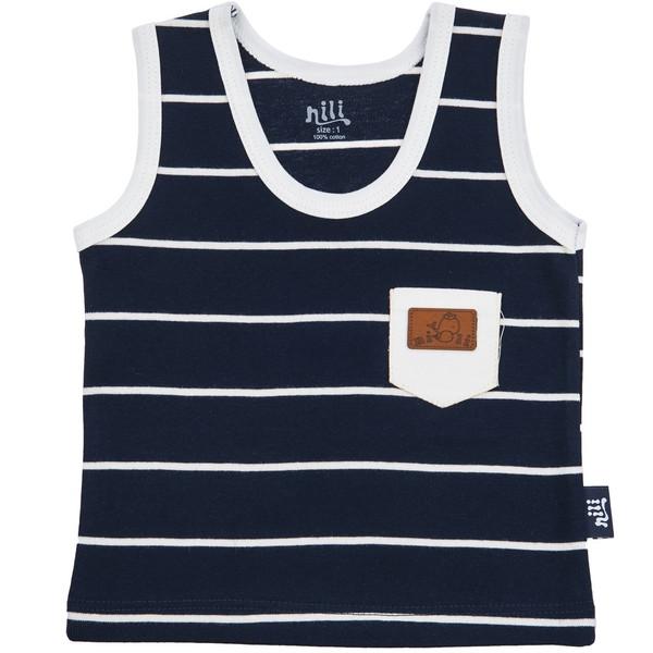 زیرپوش رکابی نوزادی نیلی مدل Navy Blue Stripes