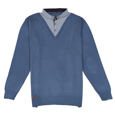 تصویر بلوز بافت مردانه ال تی بی طرح یقه پیراهنی آبی 164