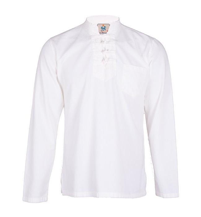 پیراهن مردانه الیاف طبیعی چترفیروزه مدل چهارگره سفید کد 5