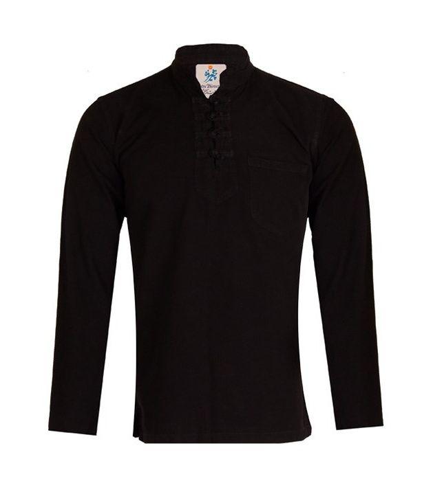 پیراهن مردانه الیاف طبیعی چترفیروزه مدل چهارگره مشکی کد 3 main 1 1