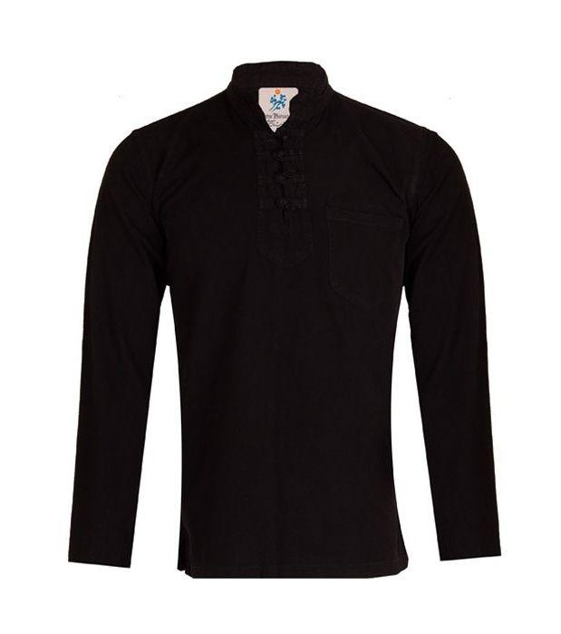 پیراهن مردانه الیاف طبیعی چترفیروزه مدل چهارگره مشکی کد 3 main 1 3