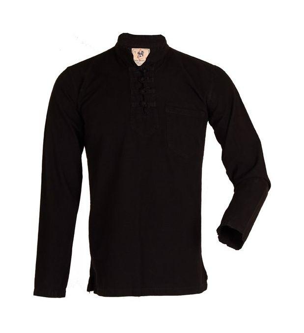 پیراهن مردانه الیاف طبیعی چترفیروزه مدل چهارگره مشکی کد 3 main 1 4