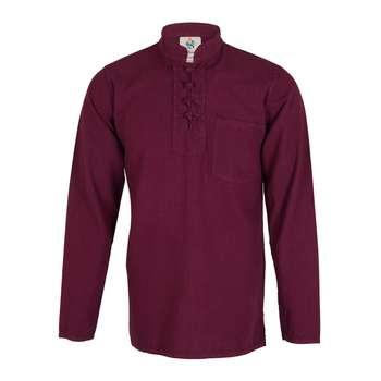 پیراهن مردانه الیاف طبیعی چترفیروزه مدل چهارگره زرشکی کد 6