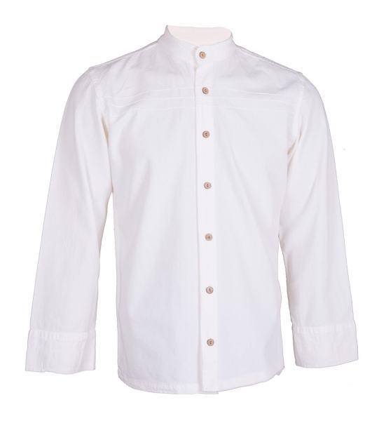 پیراهن مردانه چترفیروزه طرح جلوباز سفید کد 6