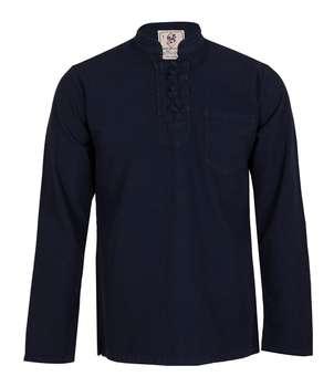 پیراهن مردانه الیاف طبیعی چترفیروزه مدل چهارگره سرمه ای کد 1
