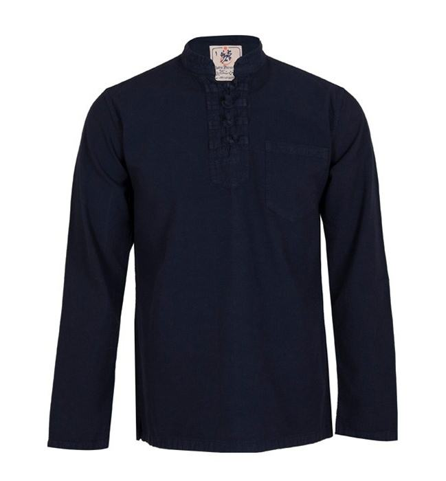 پیراهن مردانه الیاف طبیعی چترفیروزه مدل چهارگره سرمه ای کد 1 main 1 1